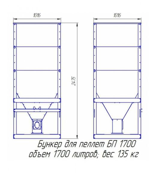 Пеллетный бункер БП-1700